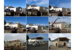 touton architectes - La Commanderie - chais - évolution du chantier depuis même point de vue