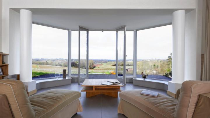 touton architectes - Bel Air Ouÿ - maison d'hôtes - séjour - panorama - miniature