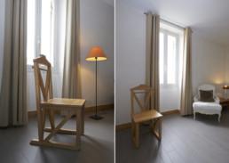 touton architectes - Bel Air Ouÿ - maison d'hôtes - chambre - chaise dessinée par l'agence