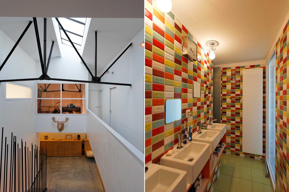 touton architectes - Danton - maison - charpente métallique - salle de bains - ancien atelier