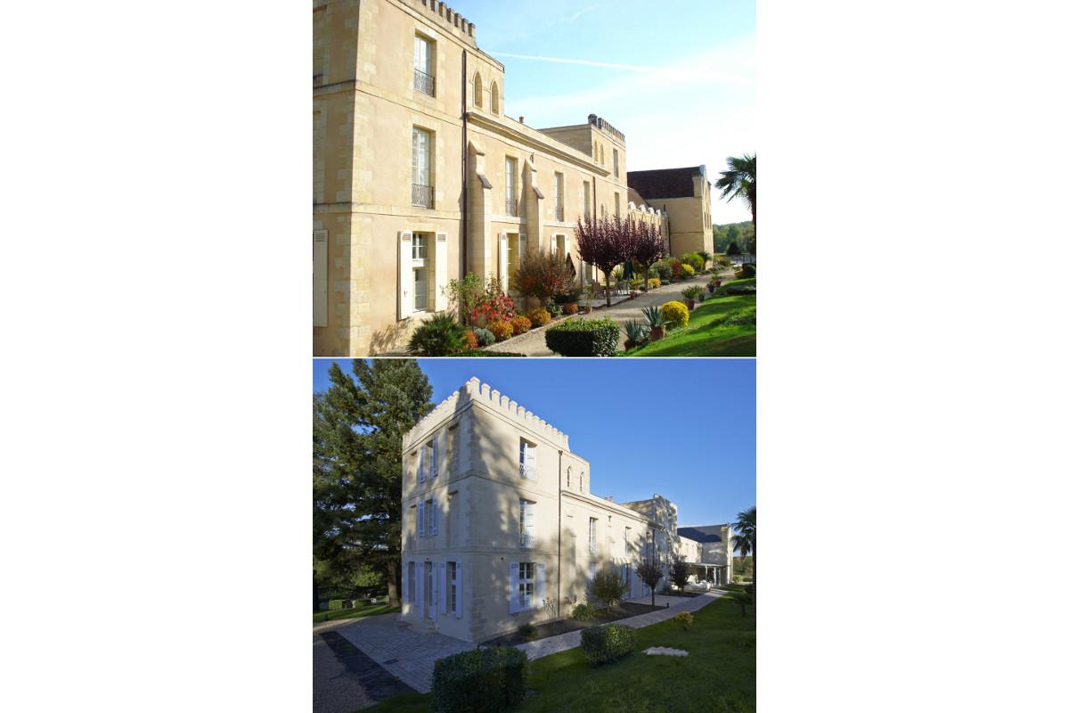 touton architectes - Domaine des Syrtes - rénovation propriété - façade avant/après - patrimoine - jardin