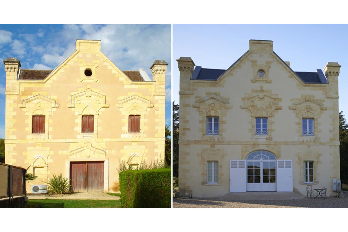 touton architectes - Domaine des Syrtes - rénovation château - façade avant/après - patrimoine