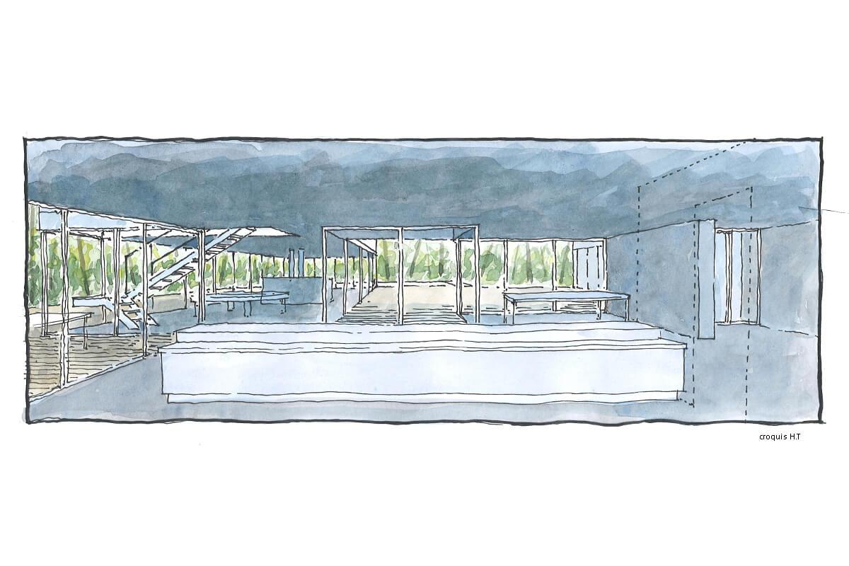 touton architectes - villa eiders - cap ferret - aquarelle - vue depuis la cuisine