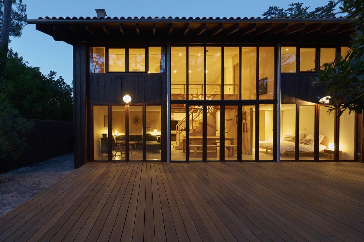 touton architectes - Lugue - villa - terrasse de nuit - double hauteur