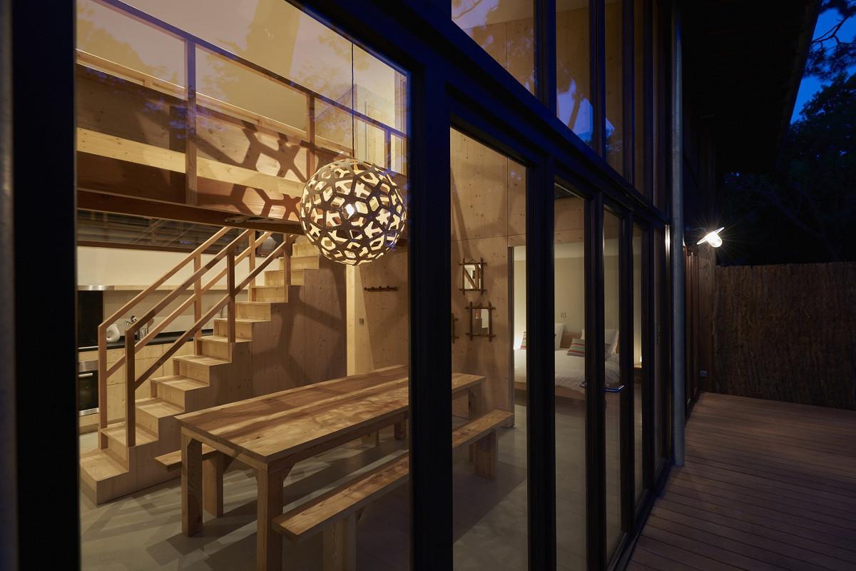 touton architectes - Lugue - villa - vue depuis la terrasse de nuit