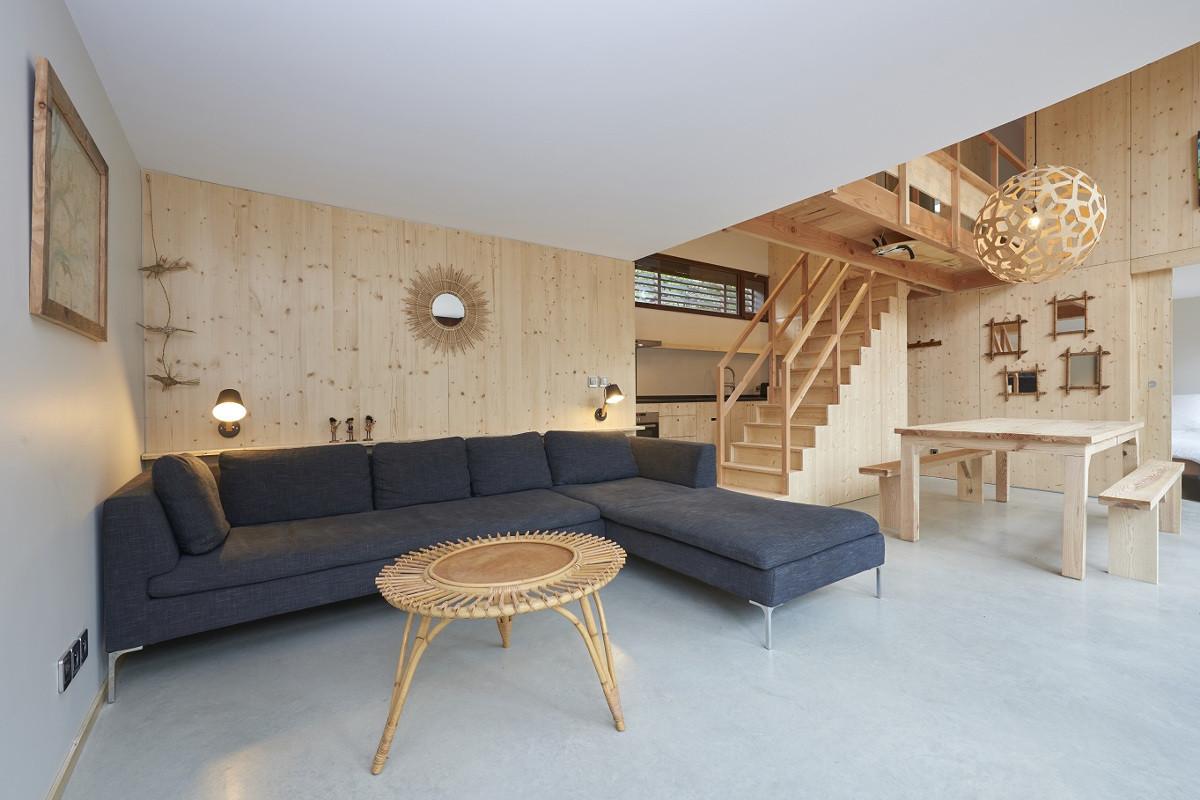 touton architectes - Lugue - villa - séjour salon salle à manger - double hauteur - bois
