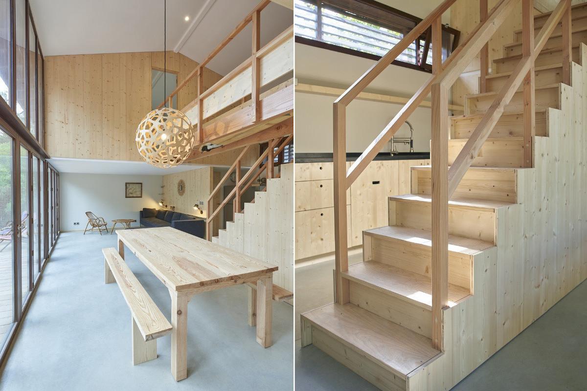 touton architectes - Lugue - villa - séjour - escalier - bois