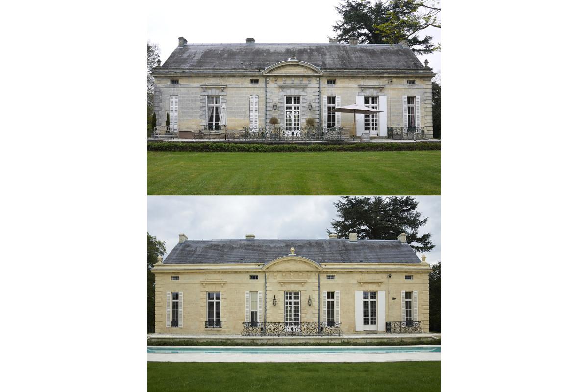 touton architectes - Pabus - maison - façade piscine avant/après