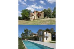 touton architectes - Picoron - maison d'été - façade avant/après - perspective angle - piscine - couloir natation