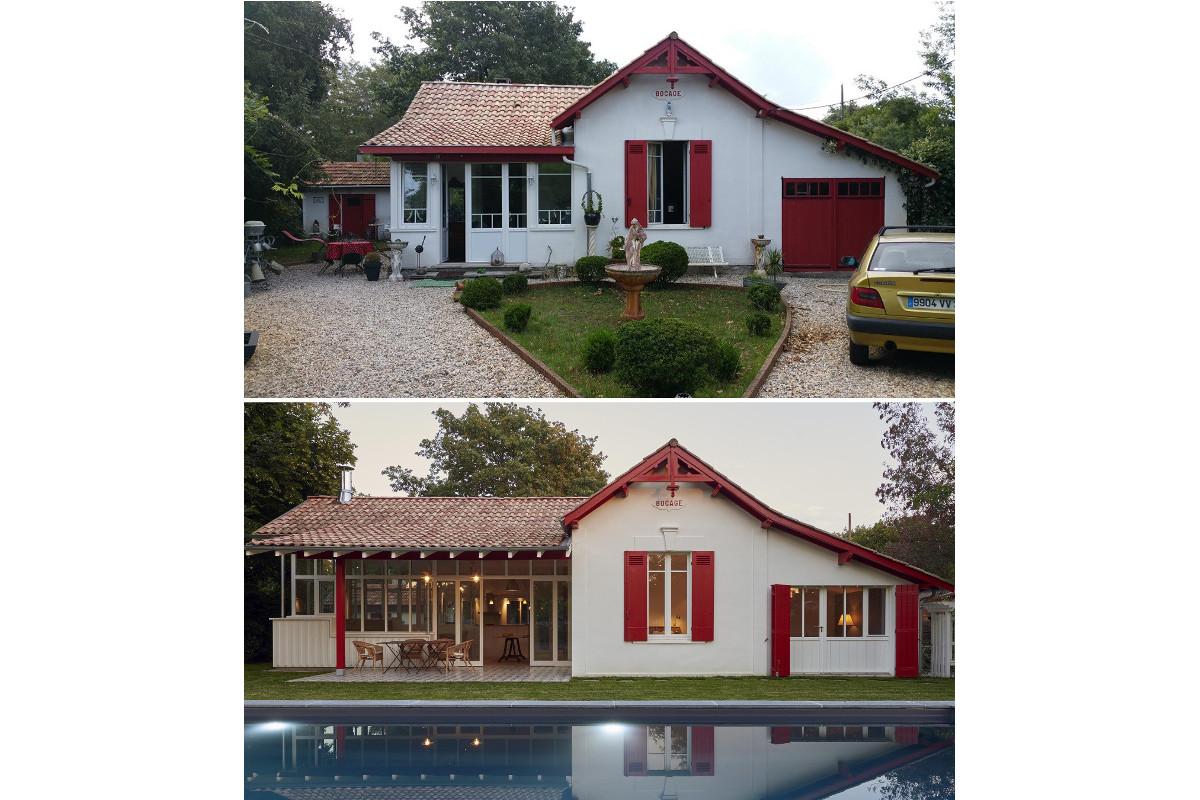 touton architectes - Saint-Henri - rénovation maison - avant/après - façade piscine