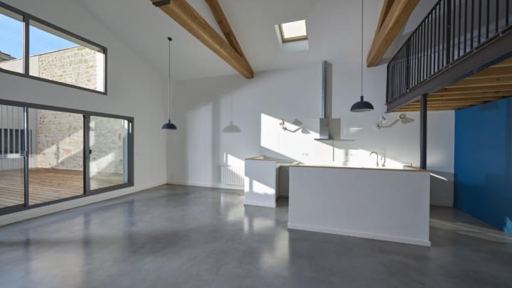 touton architectes - chartrons - logement collectif - grand duplex - cuisine séjour - double hauteur - charpente bois