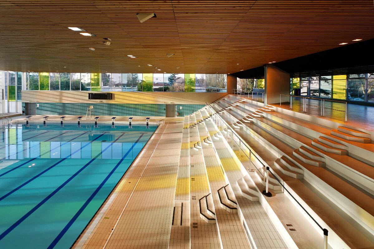 touton architectes - piscine du grand parc - équipement - gradins grand bassin