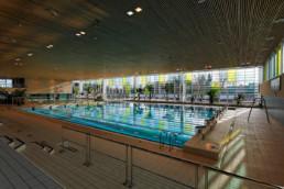 touton architectes - piscine du grand parc - équipement - grand bassin depuis les gradins sur l'angle