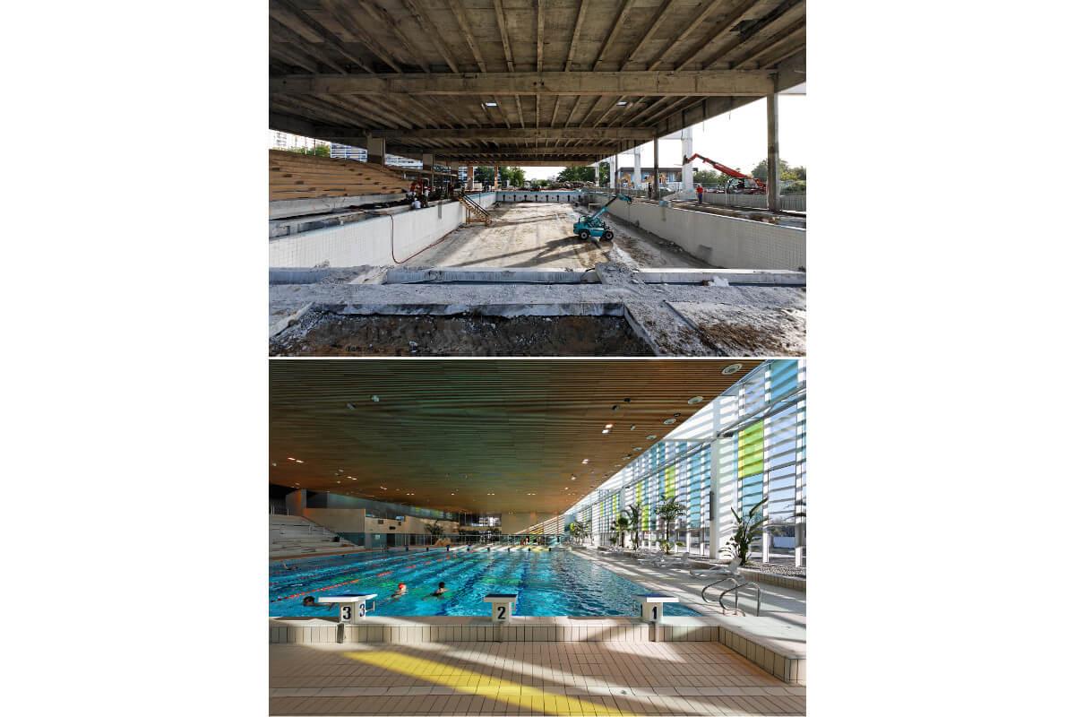 touton architectes - piscine du grand parc - équipement - bassin chantier & après