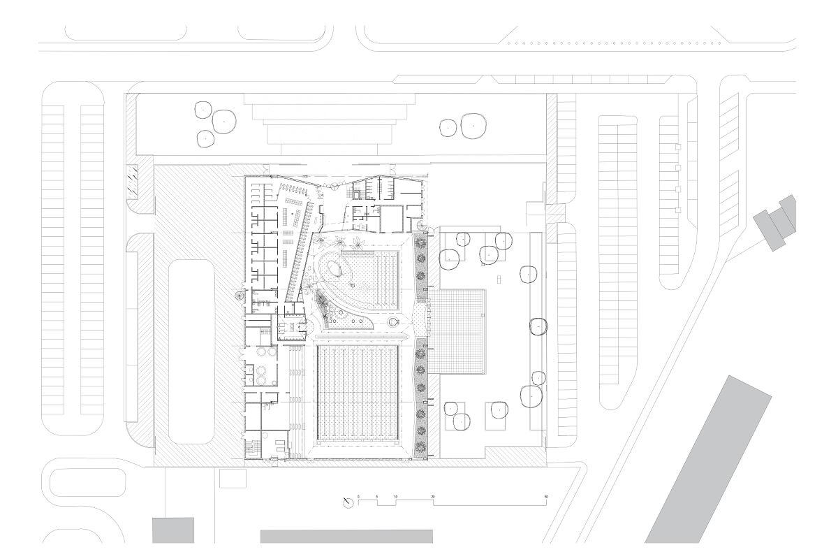 touton architectes - piscine du grand parc - équipement - plan