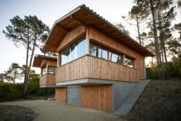touton architectes - villa cap ferret - cabane moderne - perspective extérieur - bois et béton - bardage bois - menuiseries bois - cadrages sur l'extérieur