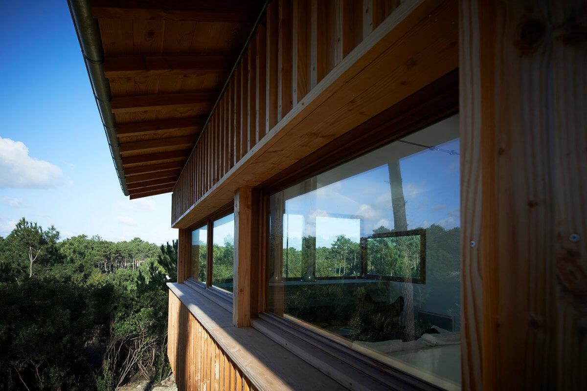 touton architectes - villa cap ferret - cabane moderne - perspective menuiseries extérieures bois - bois et béton