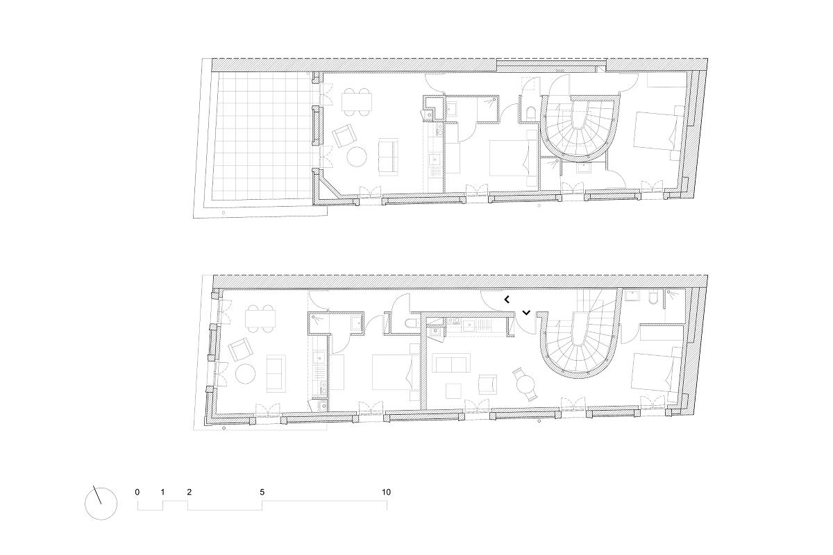 touton architectes - saint pierre - logement collectif - bordeaux - surélevation - patrimoine - plan