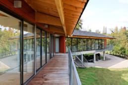 touton architectes - bureaux croisière - perspective - bureaux sur pilotis - transparence - terrasse- coursive - bois - lamellé