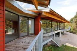 touton architectes - bureaux croisière - perspective - bureaux sur pilotis - transparence - terrasse - coursive - accès - bois - métal - béton