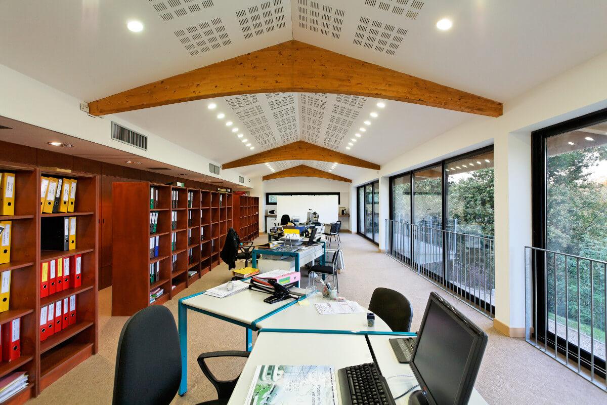 touton architectes - bureaux croisière - perspective - bureaux sur pilotis - transparence - intérieur
