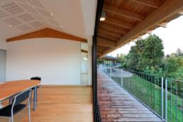touton architectes - bureaux croisière - perspective - bureaux sur pilotis - transparence - terrasse - coursive - poutre - lamellé