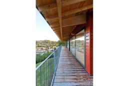 touton architectes - bureaux croisière - perspective - bureaux sur pilotis - transparence - terrasse - coursive - bois - métal