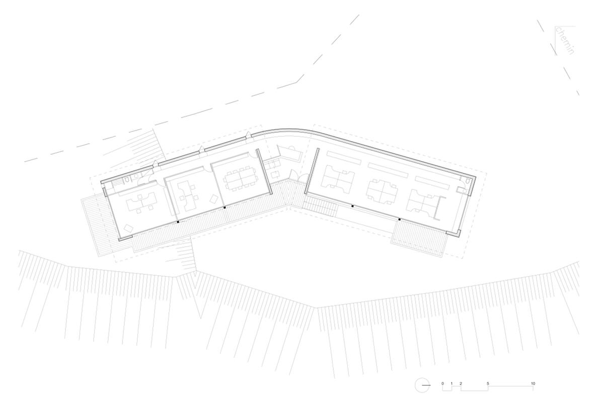 touton architectes - bureaux croisière - perspective - bureaux sur pilotis - transparence - plan